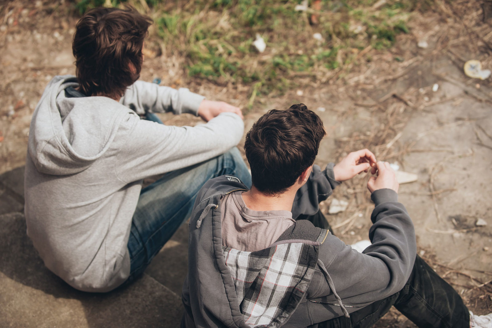 Two men sat talking about suicide