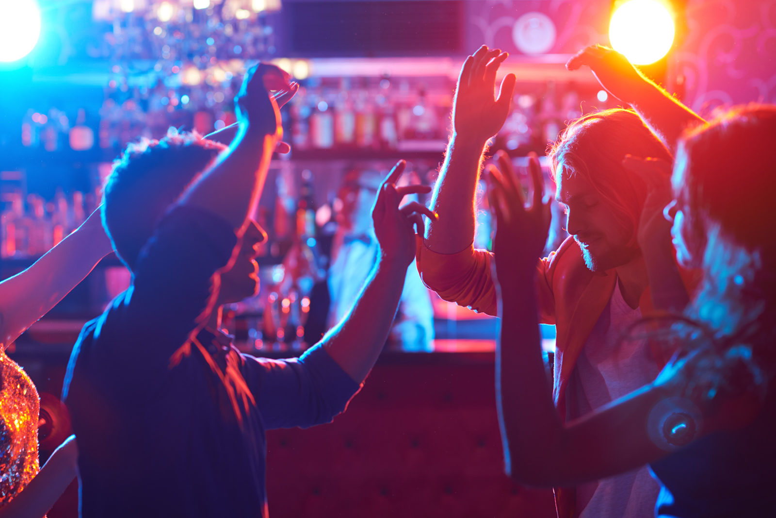 Men and women dancing enjoying new years eve