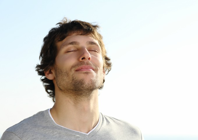 Happy man at peace with himself