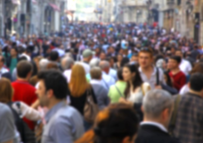 Blurred crowd of unrecognizable people
