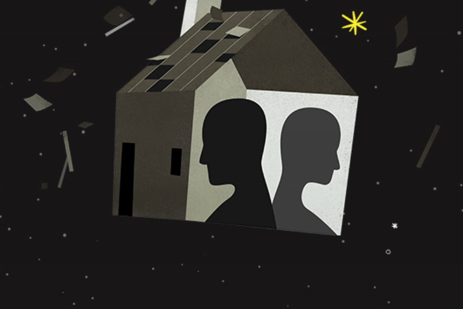 Graphic of two faces silhouetted in a house