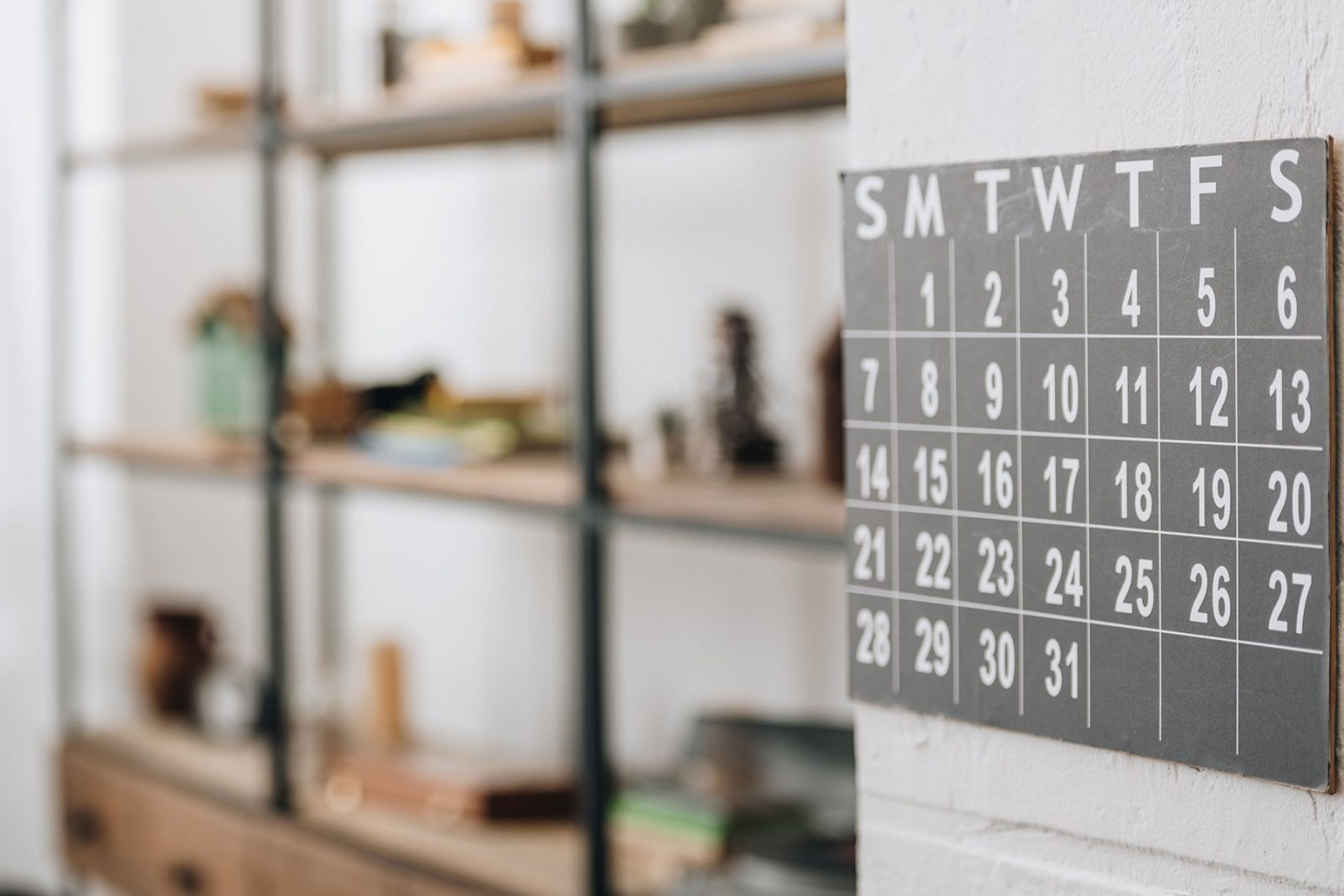 image of a calendar on a kitchen wall