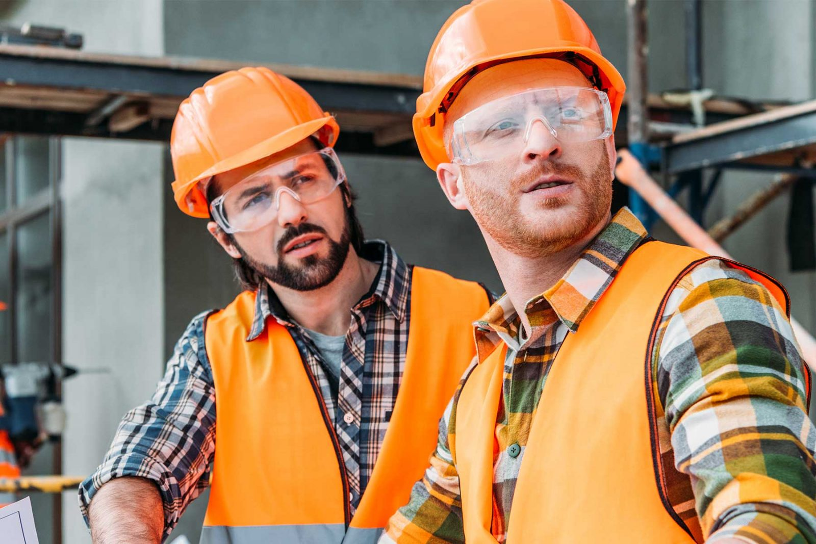 Two men disagreeing on a on a building site